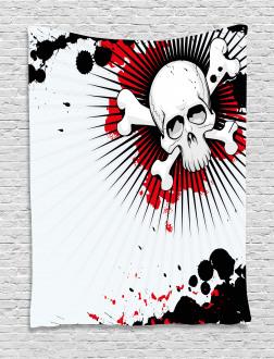 Skull Bones Grunge Tapestry