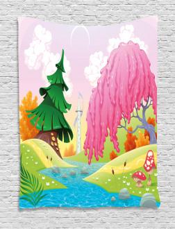 Fantasy Landscape Trees Tapestry