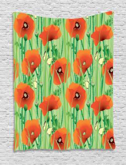 Poppy Flowers Field Tapestry