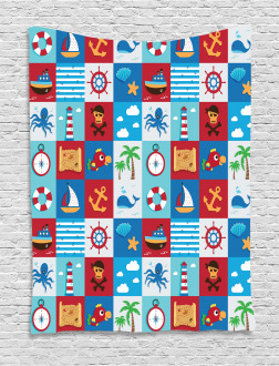 Cartoon Nautical Icons Tapestry