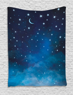 Night Time with Moon Star Tapestry