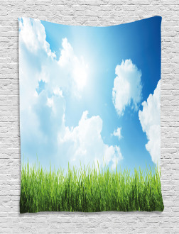 Sunny Day Grass Clouds Tapestry