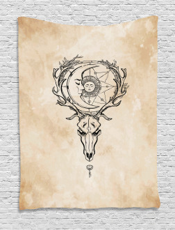 Deer Skull with Star Moon Tapestry