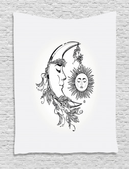 Feathers Ornate Lunar Sky Tapestry