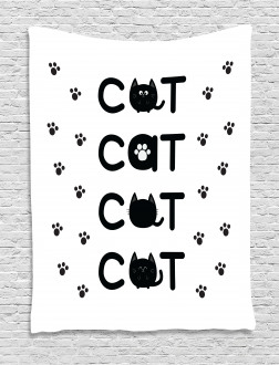 Cat Text with Paw Prints Tapestry
