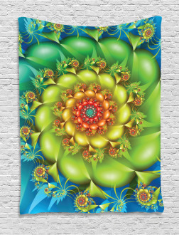 Colorful Floral Spiral Tapestry
