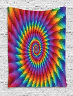 Vibrant Rainbow Spiral Tapestry
