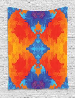 Blue Orange Kaleidoscope Tapestry