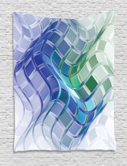 Abstract Wavy Squares Tapestry