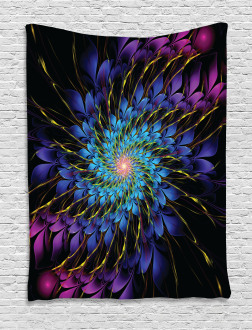 Vortex of Vivid Petals Tapestry