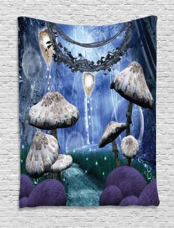 Dreamy Forest Mushroom Tapestry
