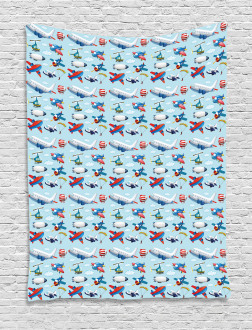 Aircrafts Sky Diving Tapestry