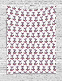 Deer Accessories Peonies Tapestry