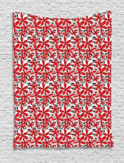 Doodle Flower Art Tapestry