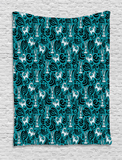 Abstract Cat Bunny Tapestry