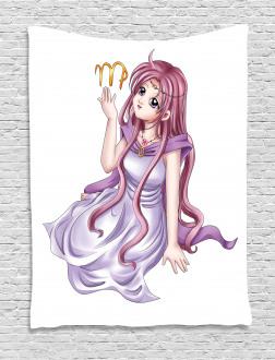 Manga Style Girl Tapestry