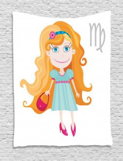 Cute Cartoon Girl Tapestry