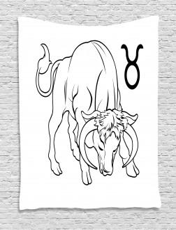 Hand Drawn Bull Tapestry