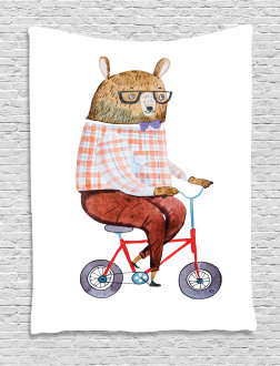 Urban Bear on Bicycle Tapestry
