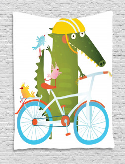 Crocodile Friends Bicycle Tapestry