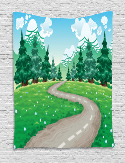 Pathway among Pine Trees Tapestry