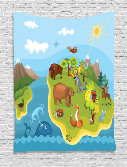 Happy Planet Mountains Tapestry