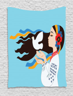 Girl with Peace Dove Tapestry