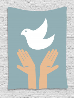 Peace Dove Flying Hands Tapestry