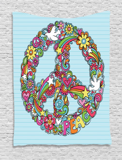 Floral Peace Sign Dove Tapestry