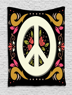 Peace Sign with Flowers Tapestry
