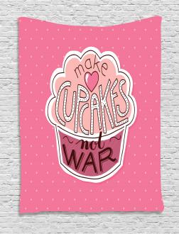 Make Cupcakes Dots Tapestry