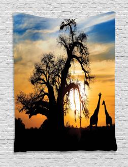 Giraffes Baobab Tree Tapestry