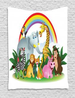 Animals Under Rainbow Tapestry