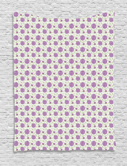 Floral Pixel-Like Dots Tapestry
