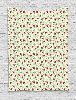 Twiggy Poppy Flowers Tapestry