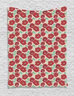 Watercolor Effect Poppy Tapestry