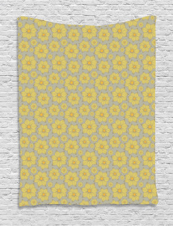 Doodle Yellow Petals Tapestry