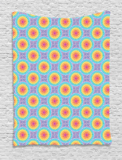 Rainbow Color Circles Tapestry