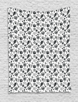 Black and White Clams Tapestry