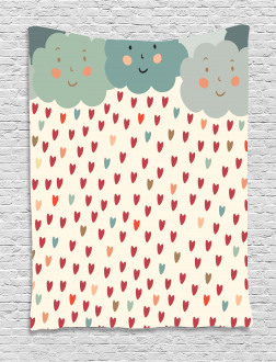 Hearts Raindrops Clouds Tapestry