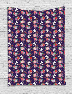 Flying Crane and Flowers Tapestry