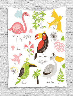 Flamingo and Pelican Tapestry