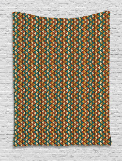 Retro Grid Triangles Tapestry