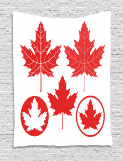 Canadian Flag Motifs Tapestry