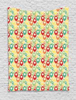 Colorful Shapes Print Tapestry
