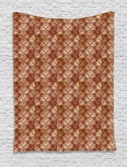 Stylized Curvy Leaves Tapestry