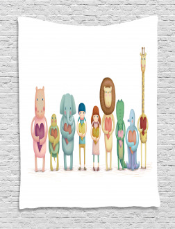 Animals Boy Girl Heart Tapestry