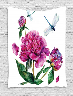 Peonies and Dragonflies Tapestry
