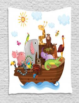 Animals in Ship Cartoon Tapestry