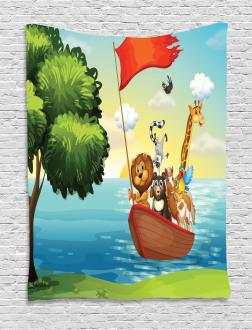 Animals Ark on Shore Tapestry